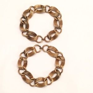 Two Matching Vintage Large Gold Link Bracelets